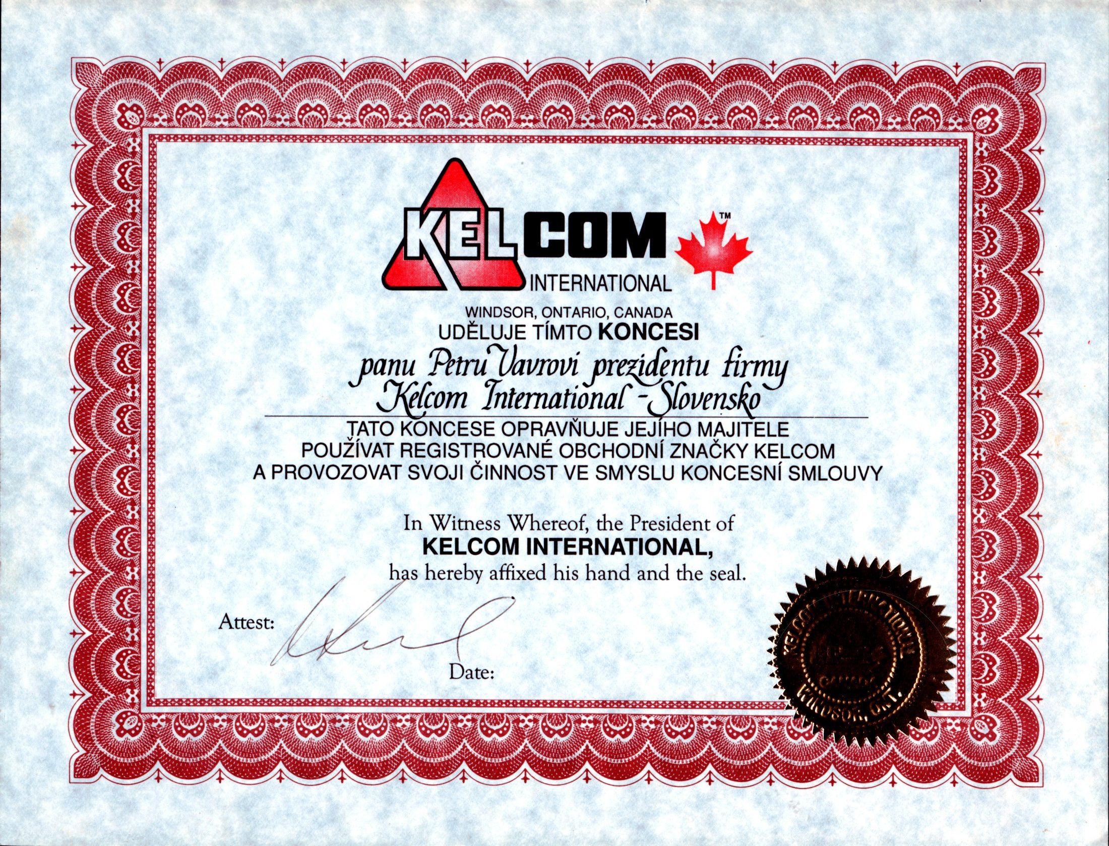 Koncesia KELCOM INTERNATIONAL